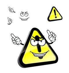 Cartoon hazard warning attention sign vector