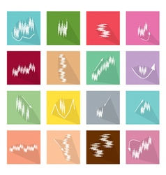 Collection of 16 linearregression chart icons vector