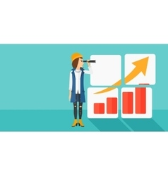 Woman looking at positive bar chart vector