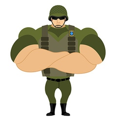 Soldiers in flak vest military helmet powerful vector