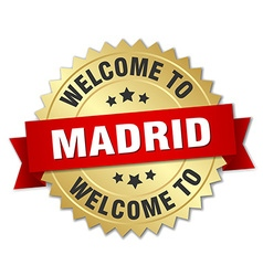 Madrid 3d gold badge with red ribbon vector