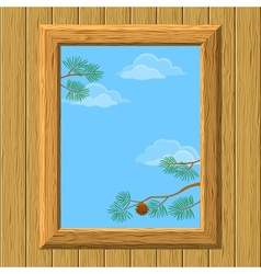 Wood window with pine branches vector image