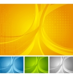 Abstract set of bright wavy backgrounds vector