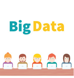 big data people with computer vector image
