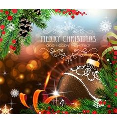 Brown christmas ball with sparkles and fir vector