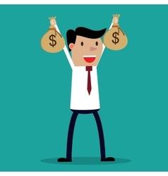 Businessman hands holding money bag vector