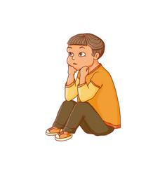 Cartoon boy sitting listening attentively vector
