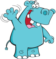 Cartoon Hippo Waving vector image