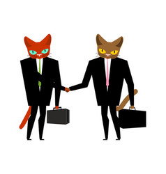cats businessmen contract handshake cat boss vector image
