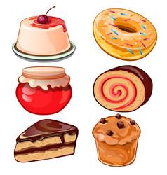 Cheesecake jam cupcake donut swiss roll vector