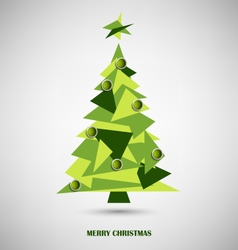 Christmas card with green triangle abstract tree vector