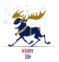 christmas cartoon deer vector image