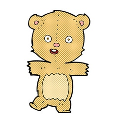 Comic cartoon dancing teddy bear vector