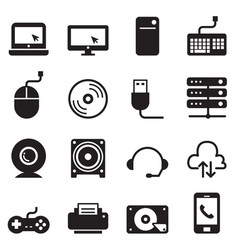 Computer and accessories icons set vector