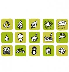doodle icon set eco vector image