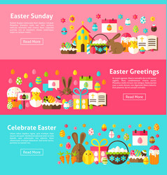 Easter greetings web horizontal banners vector