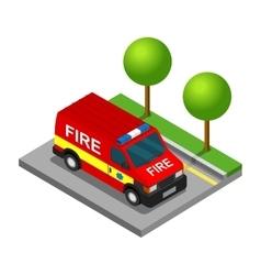 Firefighter pickup van isometric 3d car truck vector