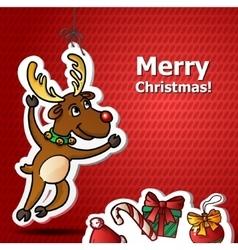 Funny christmas cute santa reindeer vector