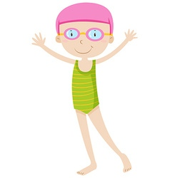 Girl in swimming suit and goggles vector