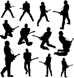 guitarist silhouettes vector image vector image