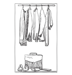 Hand drawn wardrobe sketch Clothes for man vector image vector image