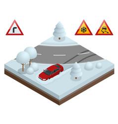 Isometric drift car on a snowy road concept heavy vector