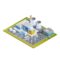 Isometric Image Of Nuclear Station vector image vector image