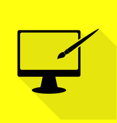 Monitor with brush sign black icon with flat vector