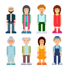 People characters set colourful pixel art style vector