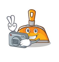 photographer dustpan character cartoon style vector image