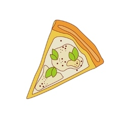 Pizza slice with four cheese vector