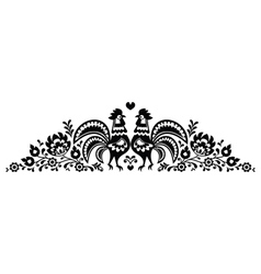 Polish floral folk art long embroidery pattern vector image vector image