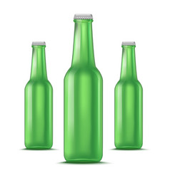 realistic detailed green glass beer bottle vector image