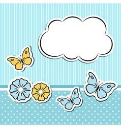 Scrapbook frame with flowers and butterflies vector image