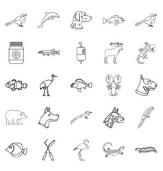 sick animal icons set outline style vector image