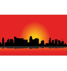 Silhouette of the city at the morning vector image vector image