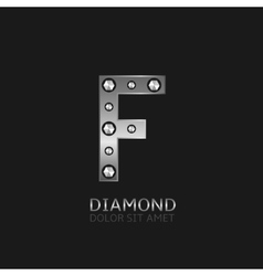 Silver f letter vector