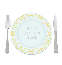 silver fork knife and plate vector image vector image