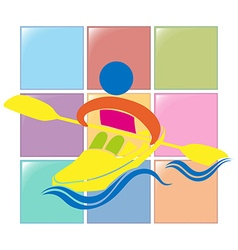 Sport icon for kayaking in colors vector