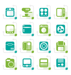 stylized home and office equipment icons vector image vector image