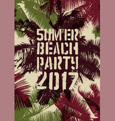 Summer beach party typographic vintage poster vector