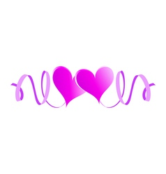Two enamored hearts with ribbons vector image