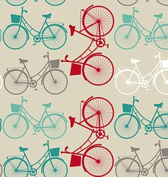 Vintage seamless background with bicycles vector image