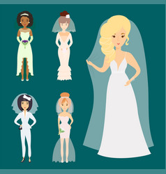 wedding brides characters vector image vector image