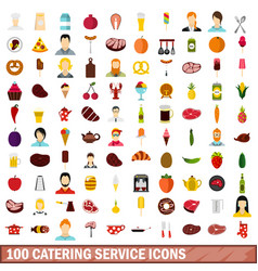 100 catering service icons set flat style vector