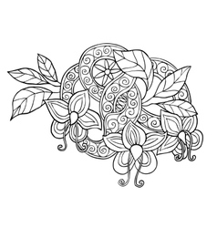 Hand drawn monochrome doodle flowers leafs and vector
