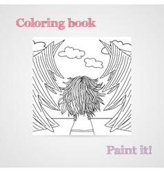 Coloring book with a woman with developing hair in vector