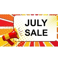 Megaphone with july sale announcement flat style vector