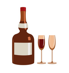 Bottle of liquor and two glasses vector