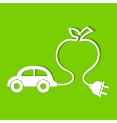 Eco car make a apple icon vector
